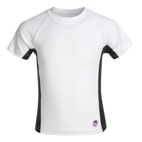 Mr. Swim Side-Panel Rash Guard - UPF 50+, Short Sleeve (For Big Boys) in White/Black