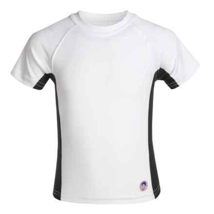 Mr. Swim Side-Panel Rash Guard - UPF 50+, Short Sleeve (For Little Boys) in White/Black - Closeouts