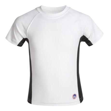 Mr. Swim Side-Panel Rash Guard - UPF 50+, Short Sleeve (For Little Boys) in White/Black