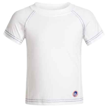 Mr. Swim Solid Rash Guard - UPF 50+ Short Sleeve (For Toddler Boys) in White/Navy - Closeouts