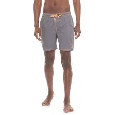 Mr. Swim Solid Swim Trunks - Built-In Briefs (For Men) in Grey/Orange - Closeouts