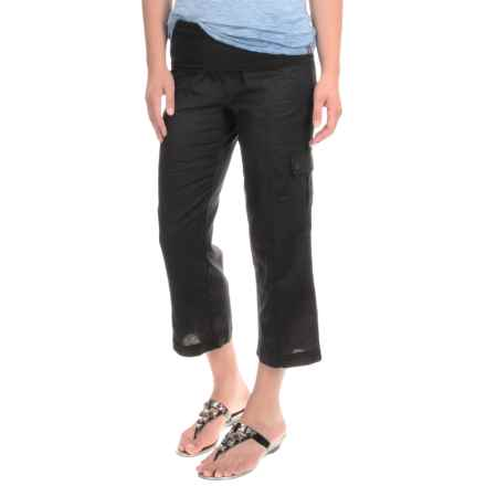 MSP by Miraclesuit Cargo Pocket Capris - Linen-Cotton (For Women) in Black - Closeouts