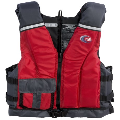 MTI Adventurewear Cruiser SE PFD Life Jacket - USCG-Approved, Type III in Red/Grey