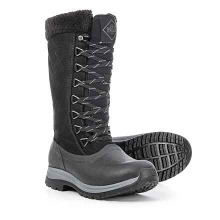Muck Boot Company Arctic Apres Lace Tall Winter Boots - Waterproof, Leather (For Women) in Black - Closeouts