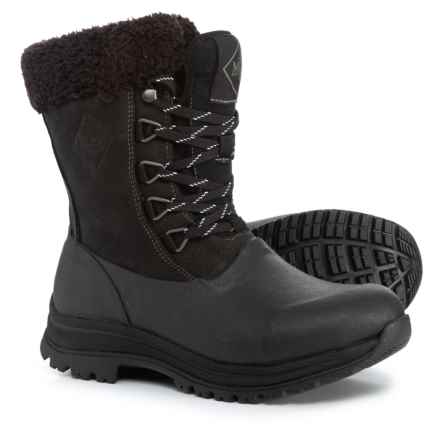 Muck Boot Company Arctic Apres Lace Winter Boots - Waterproof, Leather (For Women) in Black - Closeouts