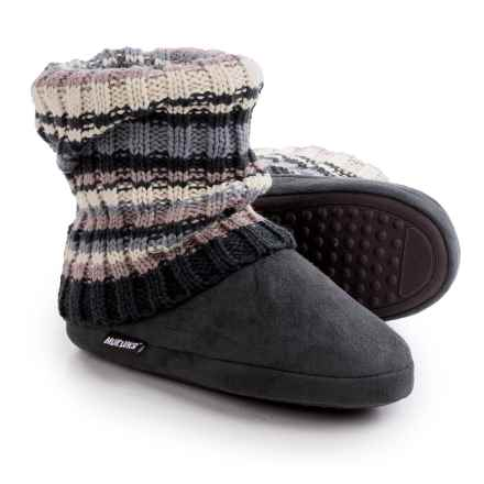 Muk Luk Legwarmer Scrunch Slipper Boots - Fleece Lining (For Women) in Chunky Rib - Closeouts