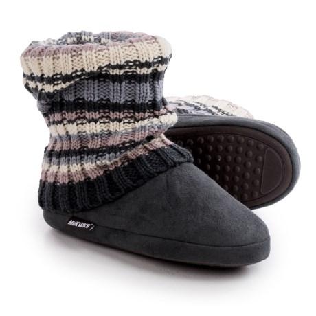 Muk Luk Legwarmer Scrunch Slipper Boots - Fleece Lining (For Women) in Chunky Rib