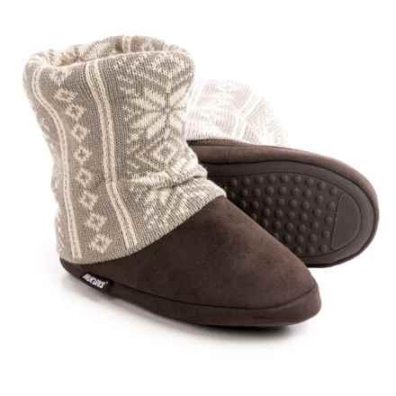 Muk Luk Legwarmer Scrunch Slipper Boots - Fleece Lining (For Women) in Vertical Nordic - Closeouts
