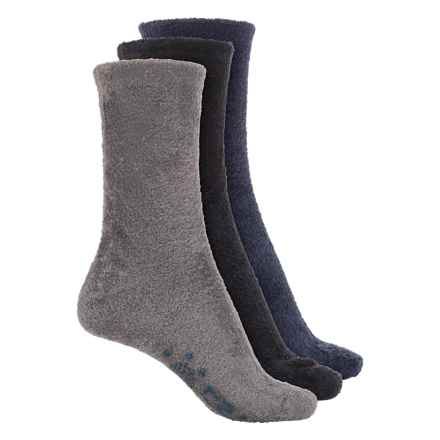 Muk Luks Aloe Fuzzy Socks - 3-Pack, Crew (For Women) in Navy/Gray/Black - Closeouts