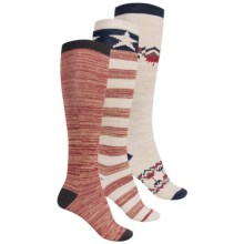 Muk Luks Americana Knee-High Socks - 3-Pack, Over the Calf (For Women) in Americana - Closeouts