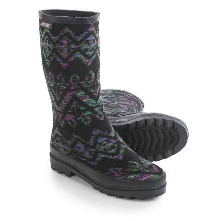 Muk Luks Anabelle Rain Boots - Waterproof (For Women) in Blue/Black/Purple Aztec Print - Closeouts