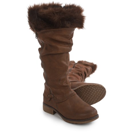 Muk Luks Bianca Tall Boots - Faux-Leather, Faux-Fur Trim (For Women) in Brown