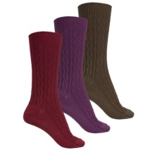 Muk Luks Cable-Knit Socks - 3-Pack, Crew (For Women) in Olive/Purple/Red - Closeouts