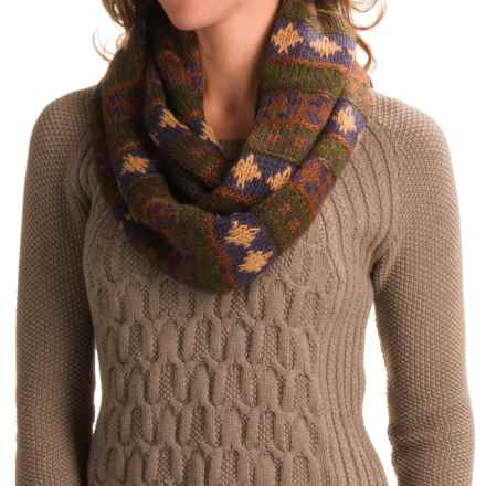 Muk Luks Chunky Fair Isle Infinity Scarf (For Women) in Green - Closeouts