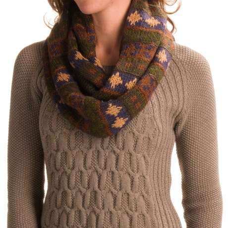Muk Luks Chunky Fair Isle Infinity Scarf (For Women) - Save 78%