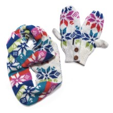 Muk Luks Colorful Snowflake Infinity Scarf and Mitten Set (For Women) in Candy Coated - Closeouts