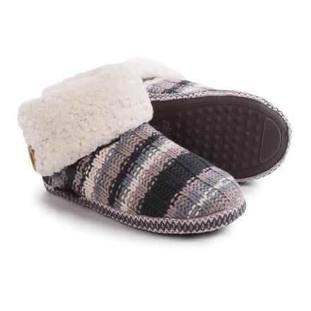 Muk Luks Faux-Fur Cuff Boot Slippers (For Women) in Chunky Rib - Closeouts