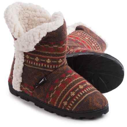Muk Luks Faux-Fur Trim Boot Slippers (For Women) in Arrow Fairisle - Closeouts