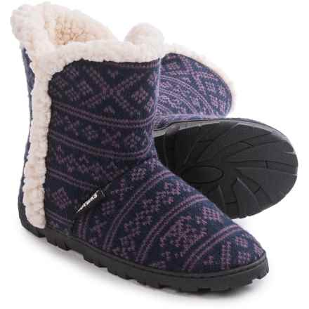Muk Luks Faux-Fur Trim Boot Slippers (For Women) in Dot Fairisle - Closeouts