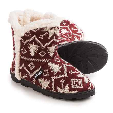 Muk Luks Faux-Fur Trim Boot Slippers (For Women) in Snowflake Nordic - Closeouts