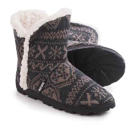 Muk Luks Faux-Fur Trim Boot Slippers (For Women) in X Fairisle - Closeouts