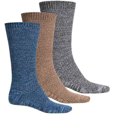 Muk Luks Five-Color Marled Socks - 3-Pack, Crew (For Men) in Brown/Grey/Blue - Closeouts