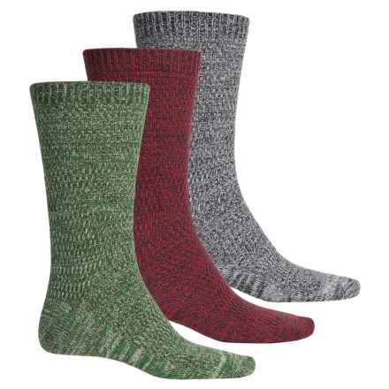 Muk Luks Five-Color Marled Socks - 3-Pack, Crew (For Men) in Green/Grey/Red - Closeouts
