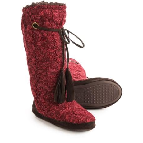 Muk Luks Grommet Boot Slippers (For Women) in Dark Red