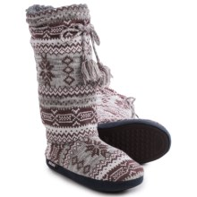 Muk Luks Grommet Boot Slippers (For Women) in Marled Rustic Lodge - Closeouts