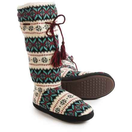 Muk Luks Grommet Boot Slippers (For Women) in Mint - Closeouts