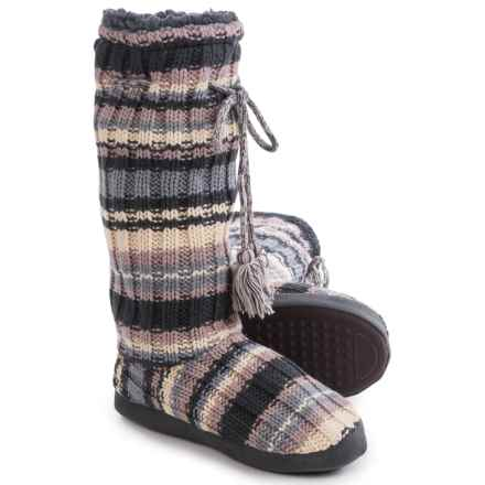 Muk Luks Grommet Boot Slippers (For Women) in Rib Stripe - Closeouts