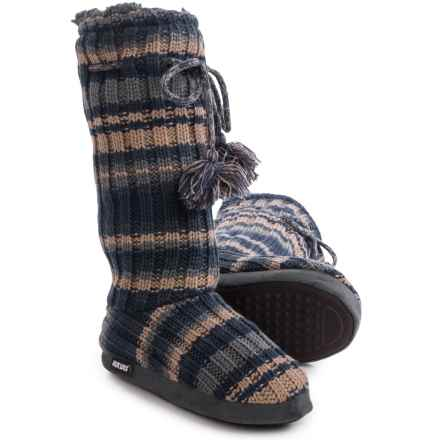 Muk Luks Grommet Boot Slippers (For Women) in Stripe Navy - Closeouts