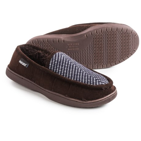 Muk Luks Henry Slippers (For Men) in Dark Brown