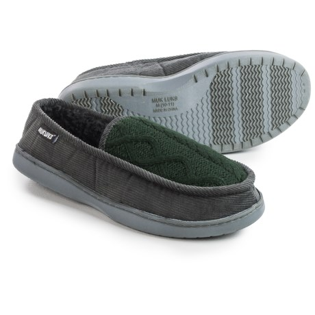 Muk Luks Henry Slippers (For Men) in Dark Gray