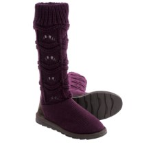 Muk Luks Jamie Short Knit Boots (For Women) in Concord Grape - Closeouts