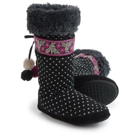 Muk Luks Jasmine Boot Slippers - Faux-Fur Lined (For Women) in Black