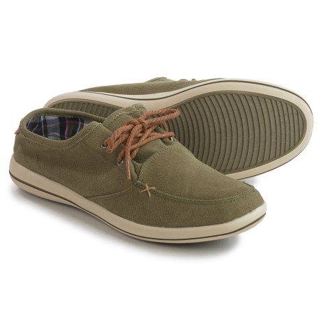 Muk Luks Josh Boat Shoes - Linen (For Men) in Khaki Green