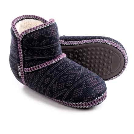 Muk Luks Knit Slipper Short Boots (For Women) in Dot Fairisle - Closeouts