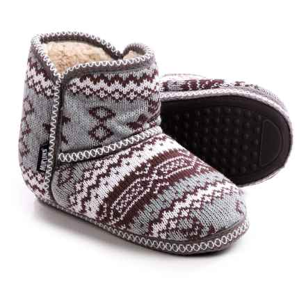 Muk Luks Knit Slipper Short Boots (For Women) in Marled Rustic Lodge - Closeouts