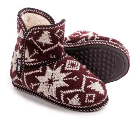 Muk Luks Knit Slipper Short Boots (For Women) in Snowflake Nordic - Closeouts
