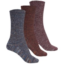 Muk Luks Marled Socks - 3-Pack, Crew (For Women) in Plum/Rust/Grey - Closeouts