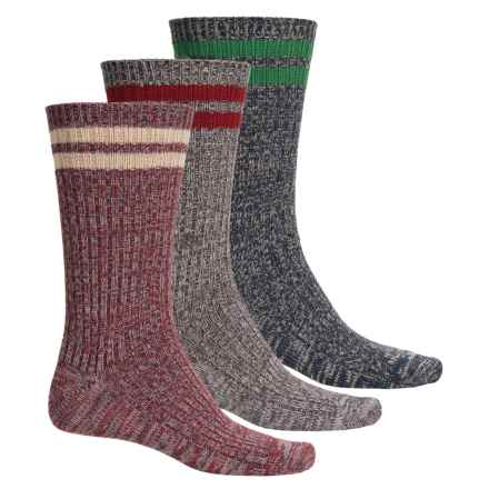 Muk Luks Microfiber Socks - 3-Pack, Crew (For Men) in Maroon/Blue/Grey - Closeouts
