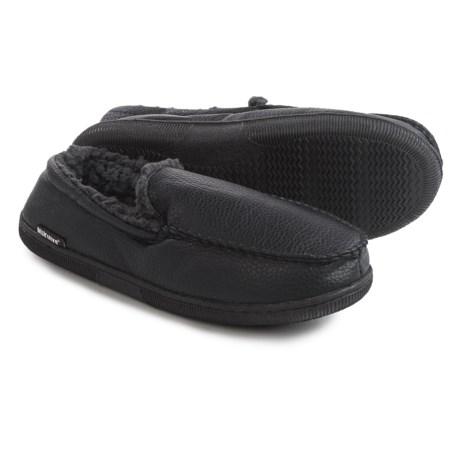 Muk Luks Moccasin Slippers - Vegan Leather, Fleece Lined (For Men) in Black