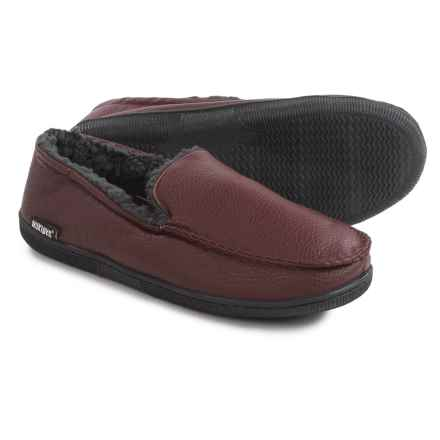 Muk Luks Moccasin Slippers - Vegan Leather, Fleece Lined (For Men) in Brown - Closeouts