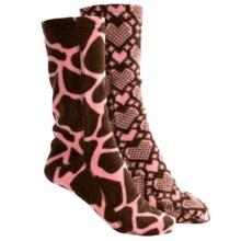 Muk Luks Pattern Fleece Socks - 2-Pack (For Women) in Pink - Closeouts