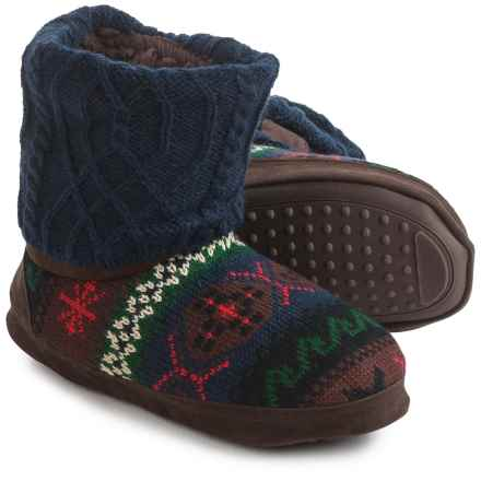 Muk Luks Patti Sweater Slippers - Fleece Lined (For Women) in Navy - Closeouts