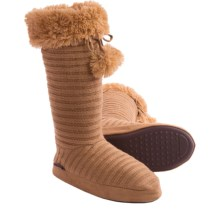 Muk Luks Pompom Boot Slippers (For Women) in Camel - Closeouts