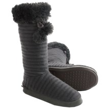 Muk Luks Pompom Boot Slippers (For Women) in Grey - Closeouts