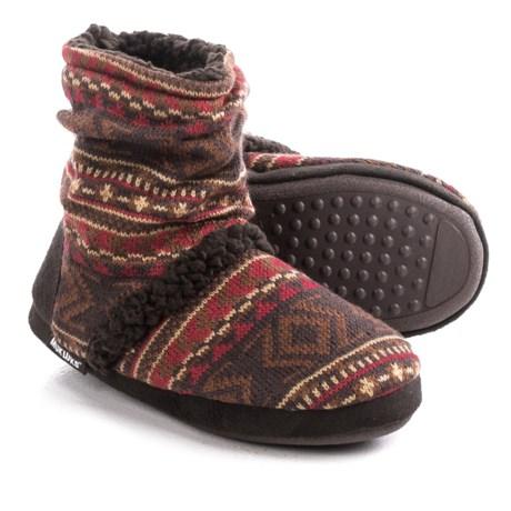 Muk Luks Scrunch Boot Slippers (For Women) in Arrow Fairisle