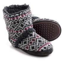 Muk Luks Scrunch Boot Slippers (For Women) in Diamond Fairisle - Closeouts